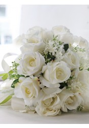 Round White Rose Bridal Bouquets/Bridesmaid Bouquets