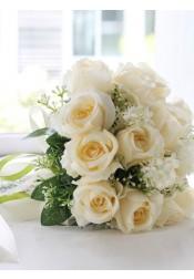 Round Champagne Rose Bridal Bouquets/Bridesmaid Bouquets
