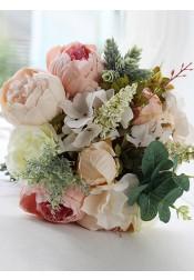 Free-Form Multi-Color Peonies Bridesmaid Bouquets
