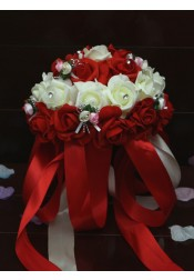 Round Red Bridal Bouquets/Bridesmaid Bouquets with Crystal