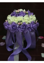 Round Purple Bridal Bouquets/Bridesmaid Bouquets with Crystal