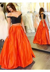 Sexy Two-piece Prom Dress - Off-the-shoulder Satin