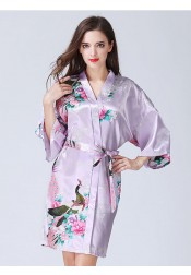 Bridesmaid Floral Purple Polyester Kimono Robes with Long Sleeves