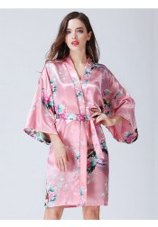 Bridesmaid Floral Long Sleeves Pink Polyester Kimono Robes