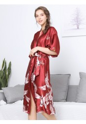 Bridesmaid Floral Half Sleeves Red Polyester Long Robes