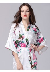 Bride Bridesmaid Floral White Satin Kimono Robes