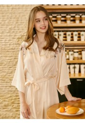 Bride Bridesmaid Half Sleeves Pink Polyester Robes with Embroidery