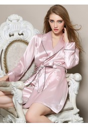 Bride Bridesmaid Long Sleeves Champagne Satin Robes