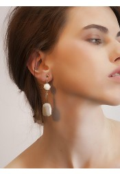 Zinc Plated Alloy Ear-clip with Nature Stone