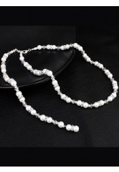 Backdrop Necklace with Imitation Pearls Bride Accessories