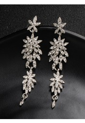 Beautiful Silver Chandelier Earrings with Crystal