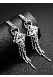 Ladies Tassels Drop Silver Chain Earrings