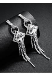 Ladies Tassels Drop Silver Chain Earrings