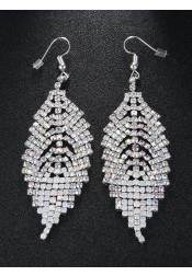 Boho Style Leaf Shape Gold And White Beaded Earrings