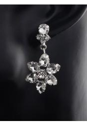 Flower Shape Beautiful Crystal Drop Bridal Earrings