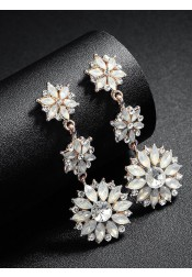 Flower Shape Cubic Zirconia Beautiful Dangle Earrings