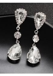 Crystal Droplet Earring Silver Bridal Earrings