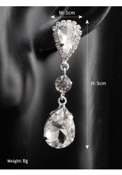 Crystal Droplet Earring Silver Bridal Earrings