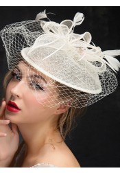 Vintage White Cambric Ladies' Fascinators With Feathers