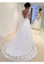 Elegant V-neck Long Sleeves Lace Appliques Open Back White Wedding Dress