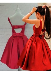 Bateau A-line Knee-Length Red Homecoming Dresses with Bowknot