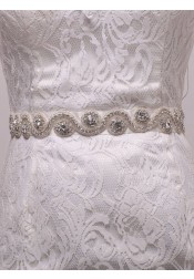 Elegant Satin Sash with Beading Crystal