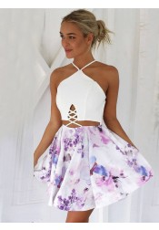 A-Line V-Neck Lace-up Short Floral Homecoming Party Dress