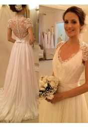 Gorgeous A-line V-neck Cap Sleeves Lace Chiffon Wedding Dress