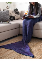 Pure Handmade Wool Knitted Blanket Mermaid Tail Blanket Sofa Blanket (3 Colours)