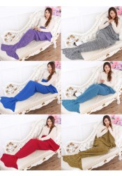 Hot Selling Handmade Acrylic Knitted Blanket Mermaid Tail Blanket Sofa Blanlet (7 Colours)