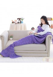 Purple Knitted Mermaid Tail Blanket Sofa Blanket