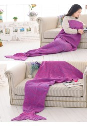Rose Red Knitted Mermaid Tail Blanket Sofa Blanket