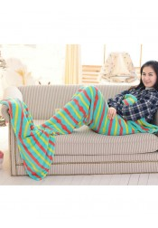 Soft Strips Green Sofa Leisure Blanket Mermaid Tail Blanket