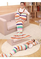 Super Soft Hand Crocheted Mermaid Tail Blanket Sofa Blanket With Bow Pillow (16 Styles)
