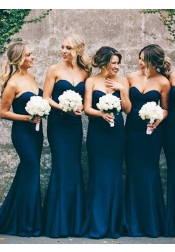Mermaid Sweetheart Navy Blue Stretch Satin Sweep Train Bridesmaid Dress