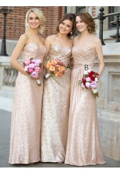 Elegant Sweetheart Floor Length Rose Gold Sequins Bridesmaid Dress with Pleats