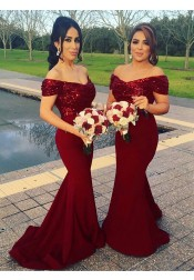 Mermaid Off Shoulder Sweep Train Dark Red Bridesmaid Dress with Sequins