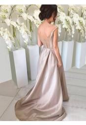 Simple V-neck Sleeveless Hi Low Sweep Train Silver Bridesmaid Dress