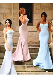 Simple Sweetheart Sweep Train Mermaid Bridesmaid Dress with Sash Ruffles Spaghetti Straps