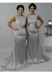 Elegant Scalloped-Edge Sweep Train Sheath Silver Bridesmaid Dress Lace Top with Bow Sash