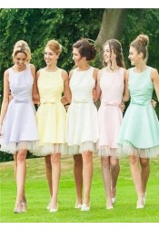 Nectarean Jewel Sleeveless Short Bridesmaid Dress with Bow Tiered