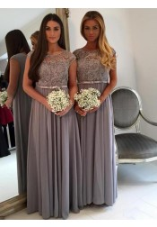 Stunning Bateau Cap Sleeves Floor-Length Grey Bridesmaid Dress with Sash Lace Top