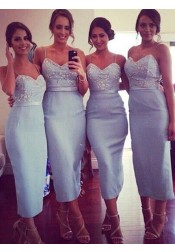 Trendy Spaghetti Straps Sheath Light Blue Bridesmaid Dress with Beading Sash