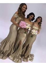 Fabulous Strapless Short Sleeves Long Sequins Bridesmaid Dress with Ruffles Legslit