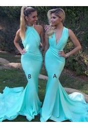 4a84b7b9923 Mermaid Deep V-Neck Sweep Train Mint Bridesmaid Dress with Ruched