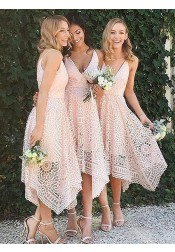 A-Line V-Neck Asymmetrical Pearl Pink Lace Bridesmaid Dress