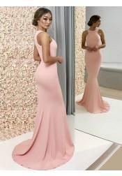 Decent Mermaid Jewel Sleeveless Floor Length Pearl Pink Bridesmaid Dress