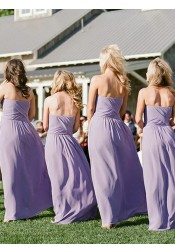 A-Line Sweetheart Lavender Chiffon Bridesmaid Dress with Pockets