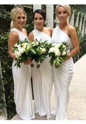 Sheath One Shoulder Floor-Length White Spandex Bridesmaid Dress