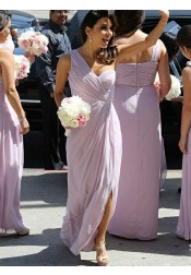 A-Line One Shoulder Lilac Chiffon Bridesmaid Dress with Split